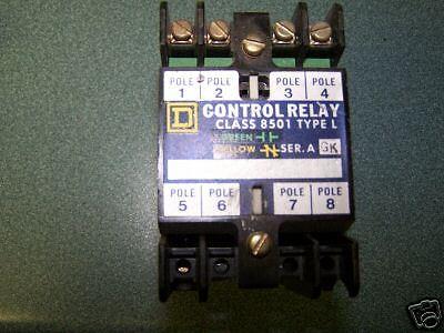 Square D Control Relay Class 8501 TYPE L, 24 VOLT COIL