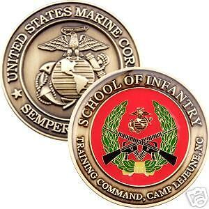 Marine Corps School of Infantry Challenge Coin. USMC