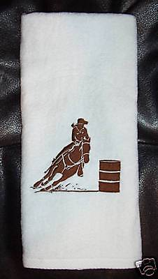 Barrel Racer Racing white hand Towel horse rodeo NEW