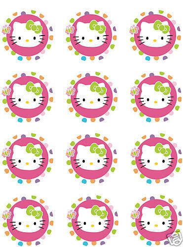 HELLO KITTY Edible CUPCAKE Image Icing Toppers Birthday